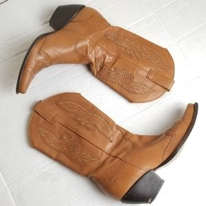 Genuine leather studded heeled cowboy boots
